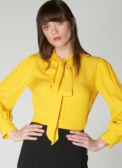 Gigi Yellow Jacquard Pussy Bow Blouse