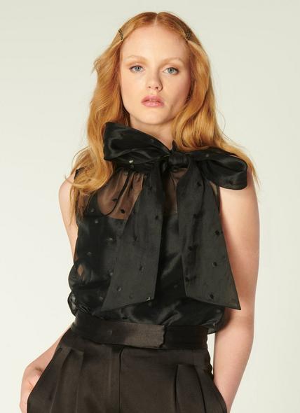 Glinda Black Spot Embroidered Silk Organza Top