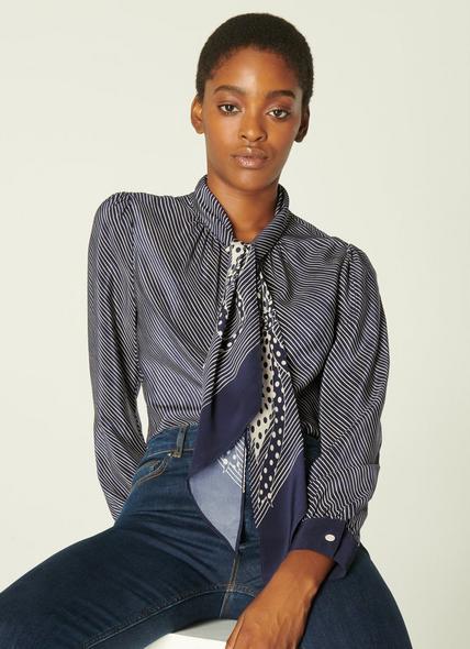 Hepworth Navy & Cream Stripe Silk Shirt