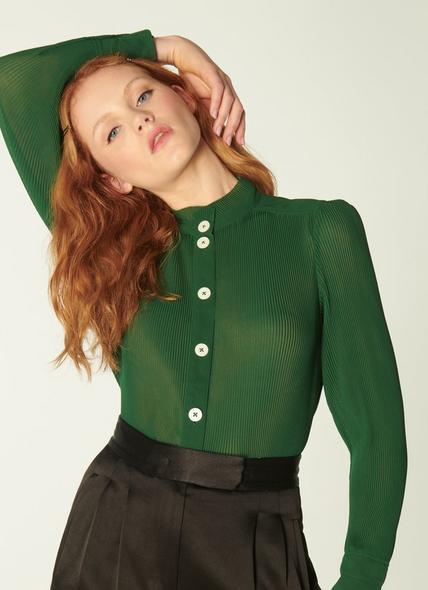 Singer Green Pleated Georgette Blouse
