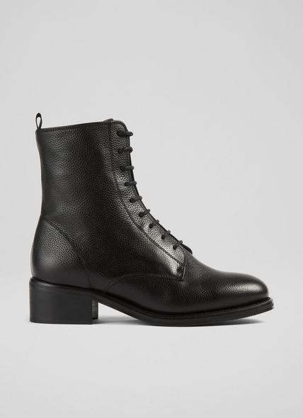 Alex Black Leather Hobnail Boots