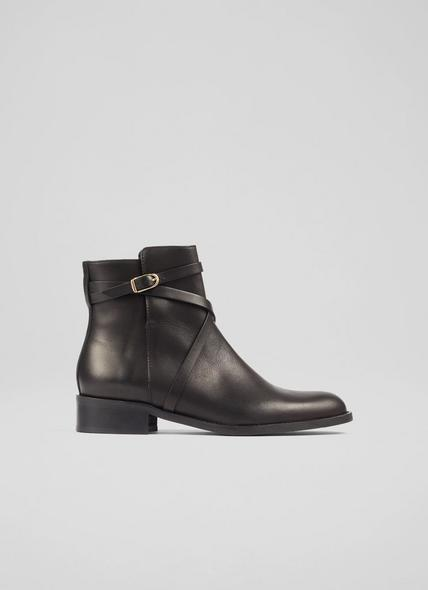 Anya Black Leather Flat Ankle Boots