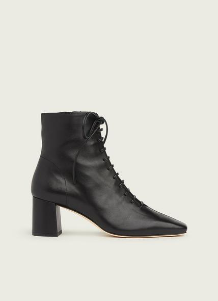 Arabella Black Leather Lace-Up Ankle Boots