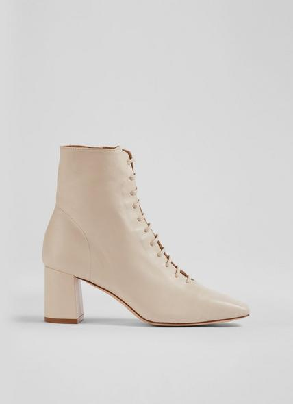 Arabella Cream Leather Lace-Up Ankle Boots
