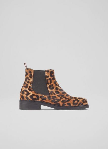 Claudia Leopard Print Calf Hair Chelsea Boots