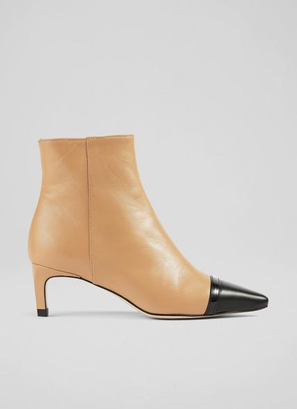 Diana Camel Nappa Leather Ankle Boots