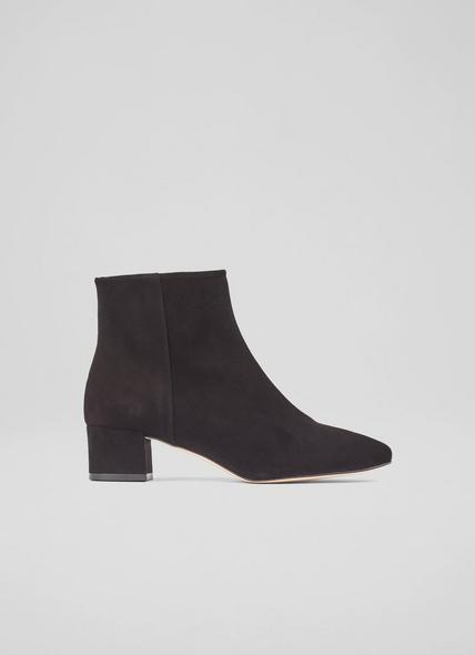 Gabrielle Black Suede Ankle Boots