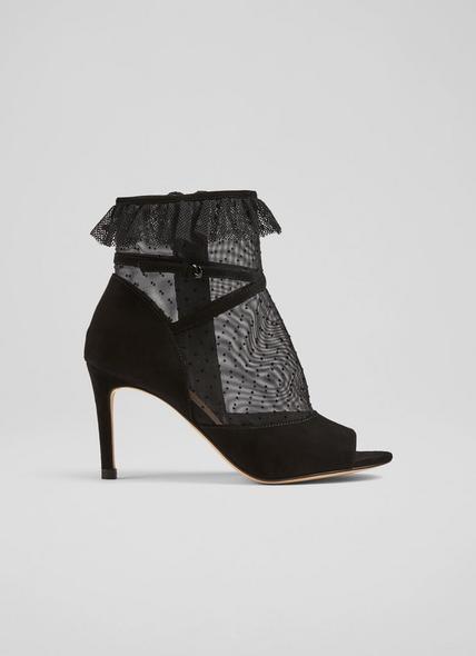 Juliette Black Dot Mesh Peeptoe Ankle Boots
