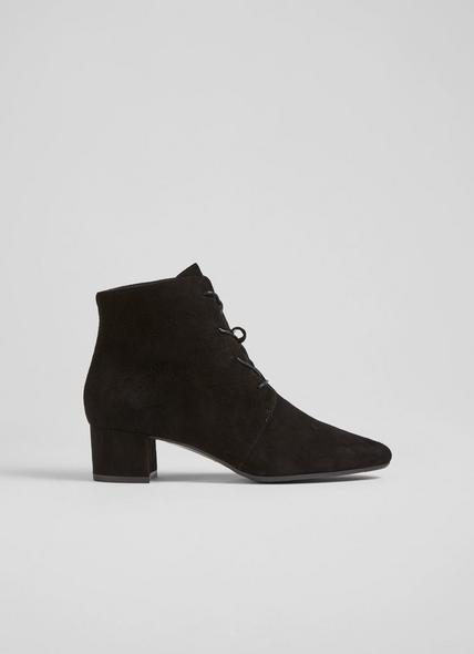 Lola Black Suede Lace-Up Ankle Boots