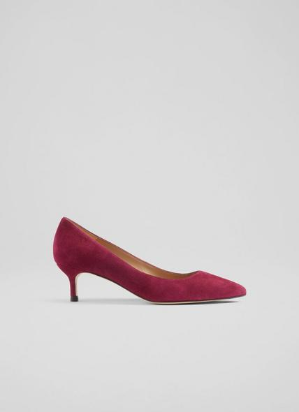 Audrey Wine Suede Closed Courts