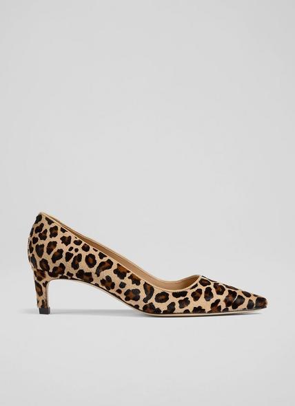 Ava Leopard Print Calf Hair Kitten Heel Courts