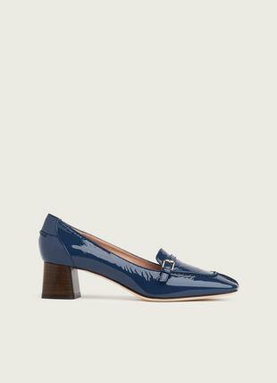 Felicity Blue Crinkle Patent Leather Heeled Loafers