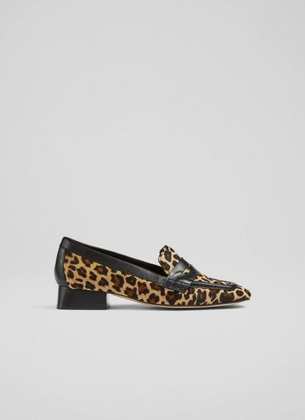 Kate Leopard Print Calf Hair Heeled Loafers