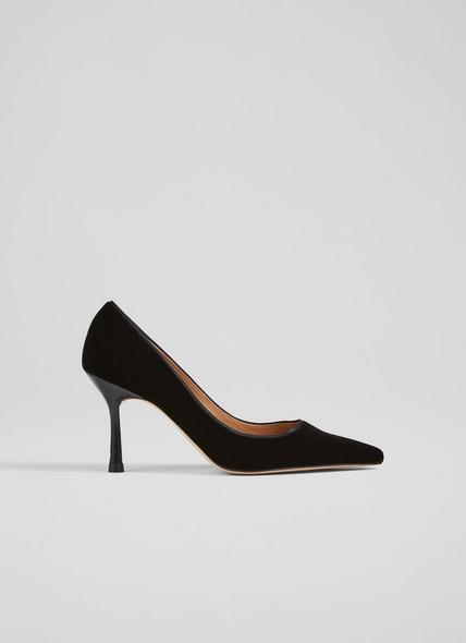 Leilani Black Velvet Pointed Toe Courts