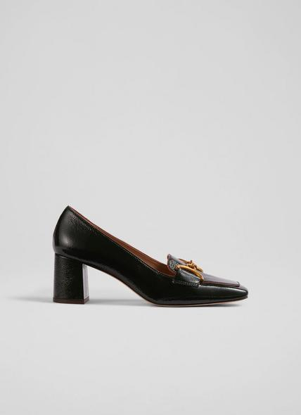 Samantha Black Leather Snaffle-Detail Courts