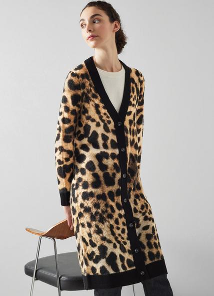 Astrid Animal Print Wool-Blend Long Cardigan