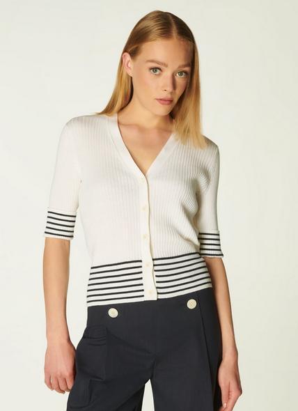 Bay Cream and Navy Stripe Cotton Cardigan