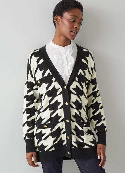 Diana Black and White Houndstooth Cotton-Merino Long Cardigan