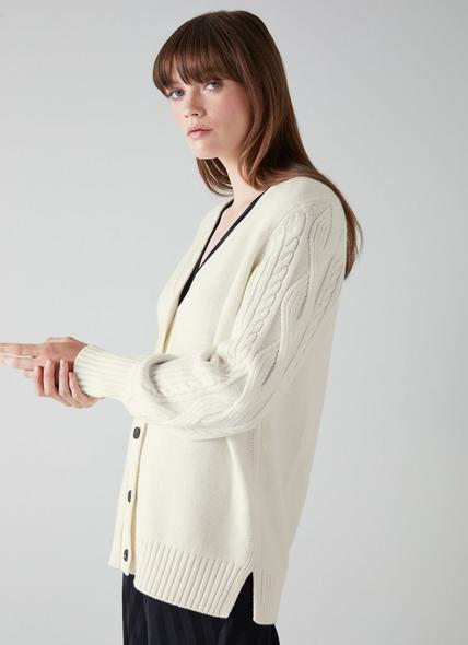 Kiana Cream Wool-Blend Cable Sleeve Long Cardigan