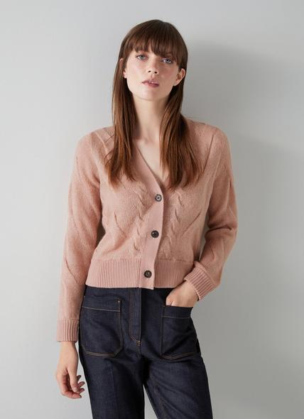 Michelle Pink Mohair-Blend Cable Knit Cardigan