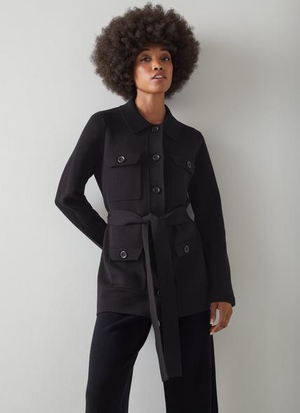 Miranda Black Merino Wool-Blend Knitted Cardigan