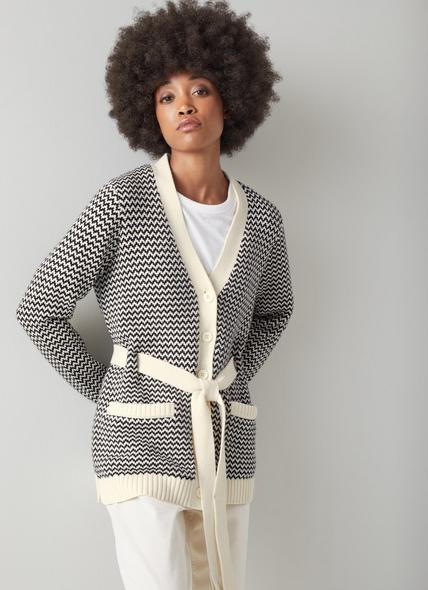 Turner Black and Cream Cotton-Merino Zigzag Knit Belted Cardigan