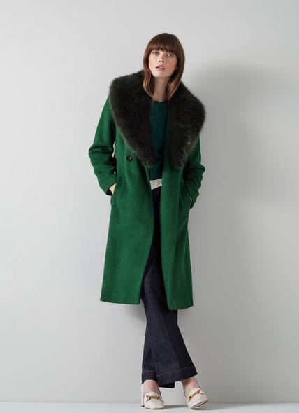 Ava Green Wool-Blend Faux Fur Collar Coat