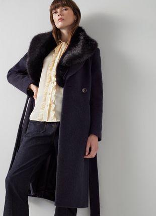 Ava Navy Wool-Blend Faux Fur Collar Coat