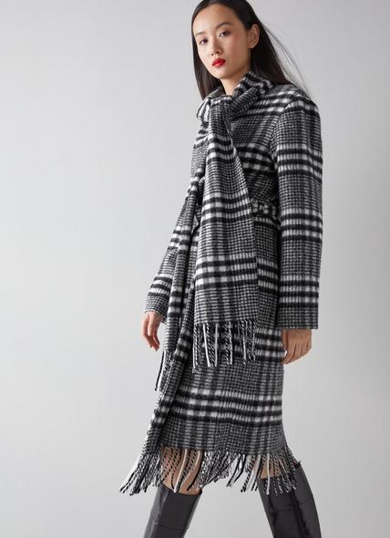 Elder Black and White Wool Blend Blanket Coat
