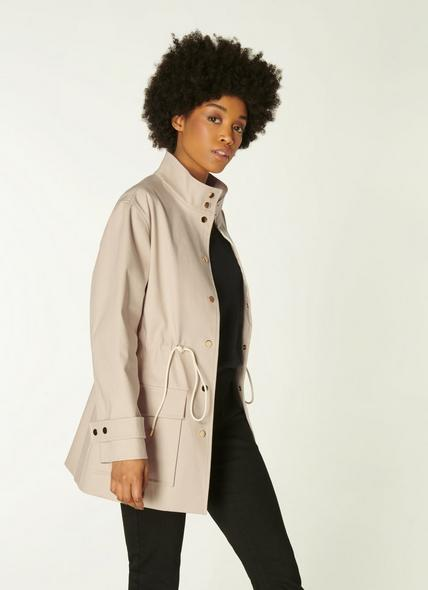 Hollie Beige Cotton Double-Faced Anorak