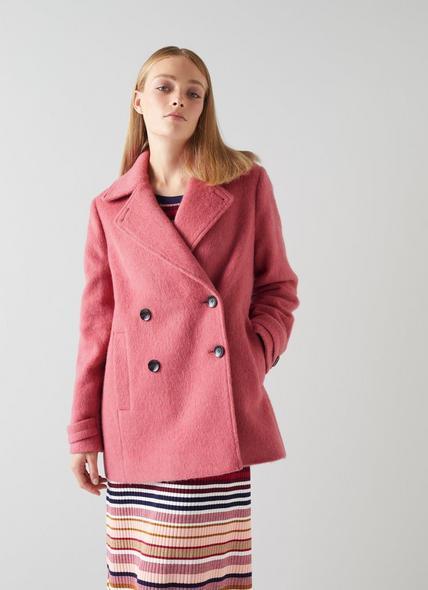 Peluso Pink Wool-Blend Pea Coat