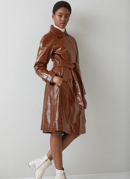 Romain Brown Patent Leather Mac