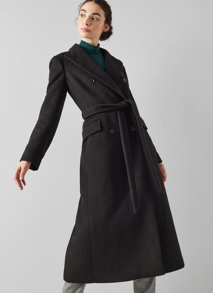 Toulouse Black Wool-Blend Double-Breasted Long Coat