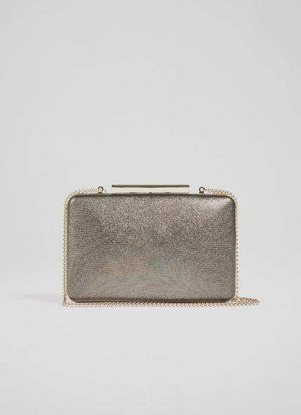 Dotty Bronze Glitter Box Clutch