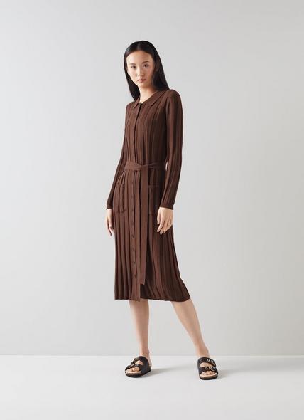 Ali Brown Wool-Cotton Ribbed Knit Dress