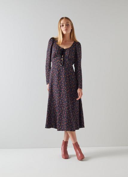 Annis Navy Raspberry Print Midi Dress