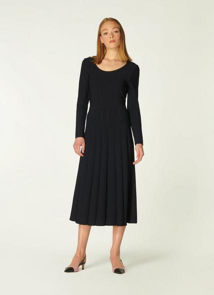 April Black Stitch Detail Midi Dress