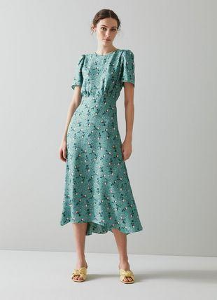 Boyd Teal Silk Jacquard Scattered Rose Print Dress