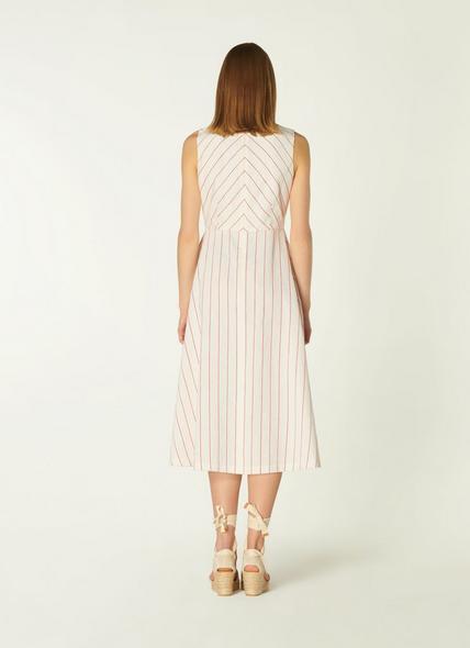 Clementine Cream and Red Stripe Cotton-Linen Dress