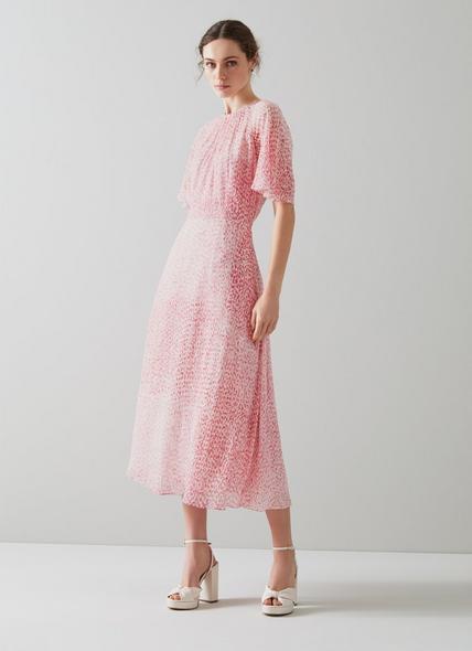 Elowen Pink Animal Print Midi Dress