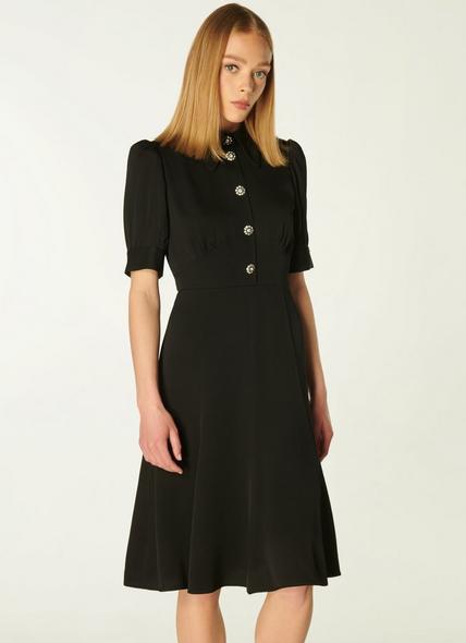 Esme Black Crepe Crystal Button Tea Dress