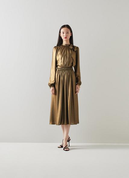 Gish Gold Lame Tie Neck Dress