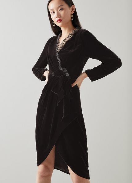 Grettel Black Velvet Wrap Dress