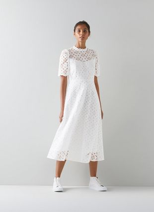 Honor White Cotton Broderie Anglaise Dress