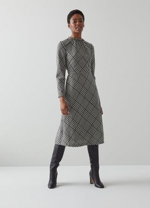 Katie Black and White Check Wool-Blend Midi Dress