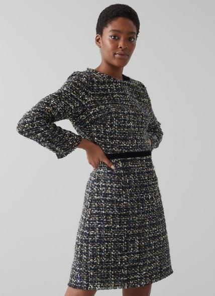 Leena Black Lurex Tweed Dress