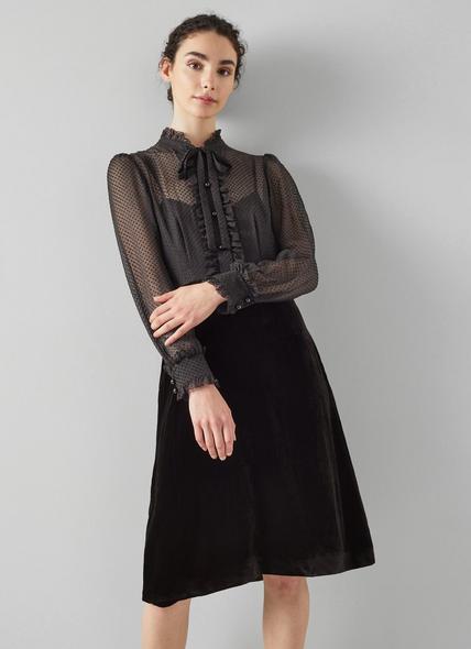 Lucinda Black Velvet Shirt Dress