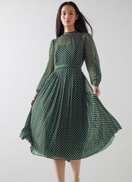 Marianne Green and Cream Spot Print Pleated Dress