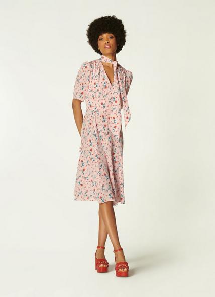 Mika Pink Scattered Rose Print Silk Tea Dress