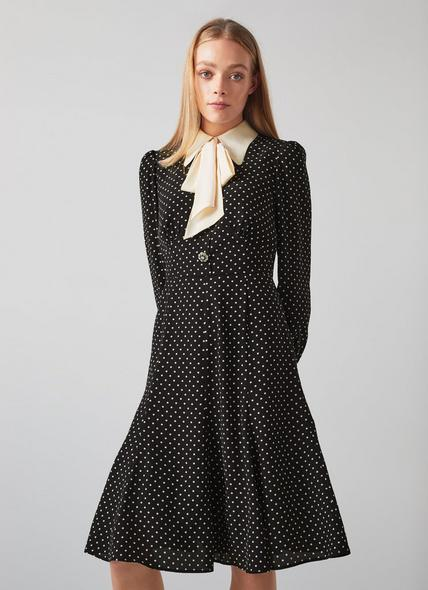 Moore Black and White Polka Dot Silk Dress